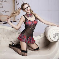 Sexy 6 pcs schoolgirl outfit costume gogo black/red