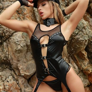 Sexy 6 pcs womens wet look police outfit costume gogo black