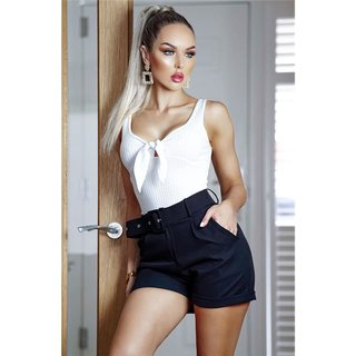 Trendy womens shorts pants with turn-up incl. belt black