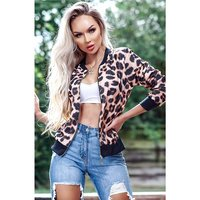 Light womens blouson bomber jacket animal print leopard...