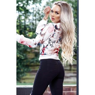 Light womens blouson bomber jacket flower print white