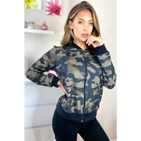 Light womens blouson bomber jacket camouflage olive-green