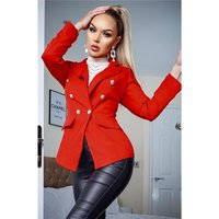 Elegant womens blazer jacket with buttons red