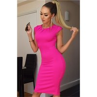 Close-fitting womens business pencil dress fuchsia