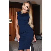 Close-fitting womens business pencil dress navy