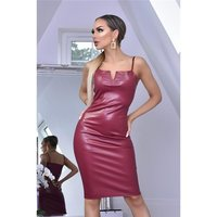 Sexy womens faux leather bodycon strap dress wine-red