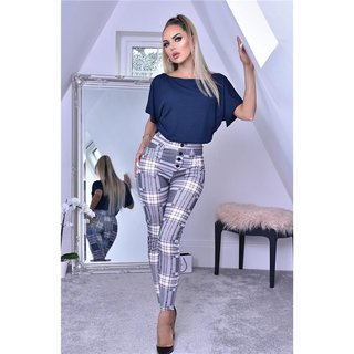 Skinny womens leggings checked with high waist grey