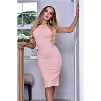 Close-fitting womens business pencil dress pink