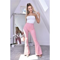 Womens flare trousers with animal print in snake look pink