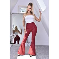Womens flare trousers with animal print in snake look...