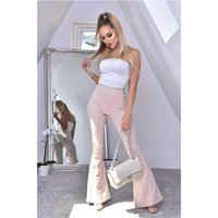Womens flare trousers with animal print in snake look beige