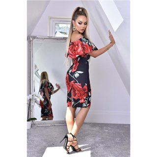 Knee-length dress with floral print and flounce black