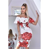 Knee-length dress with floral print and flounce white