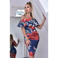 Knee-length dress with floral print and flounce navy