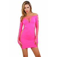 Longsleeve stretch mini dress with cuts clubwear...