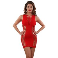 Sleeveless stretch mini dress with cuts clubwear red