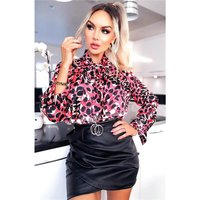 Elegant womens pussy bow blouse with animal print leo-coral