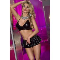 Sexy 2 pcs wet look gogo set top + miniskirt clubwear black