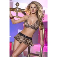 Sexy 2 pcs gogo set top + miniskirt clubwear leopard-brown