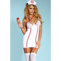 Hot 5 pcs nurse outfit costume gogo white/red
