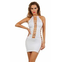 Sexy gogo mini dress with rivets clubwear white