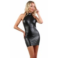 Sexy halterneck club mini dress in wet look black