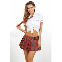 Sexy 3 pcs schoolgirl costume student outfit gogo white/red