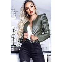 Cropped womens faux leather jacket with puffed sleeves khaki