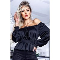 Cropped womens long-sleeved satin Bardot blouse black