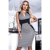 Sleeveless houndstooth bodycon panel dress black/white
