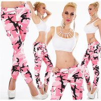 Skinny womens cargo jeans army look camouflage fuchsia