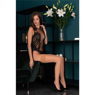 Sexy womens hold-up stockings light natural