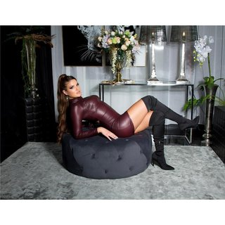 Sexy Wetlook Langarm Club Minikleid gerafft Bordeaux