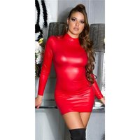 Sexy Wetlook Langarm Club Minikleid gerafft Rot