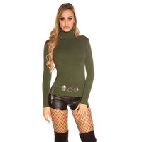 Womens fine-knitted basic sweater with turtle neck khaki
