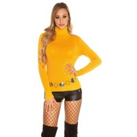 Womens fine-knitted basic sweater with turtle neck mustard