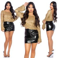 Shiny womens party long sleeve shirt backless gold