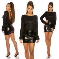 Shiny womens party long sleeve shirt backless black