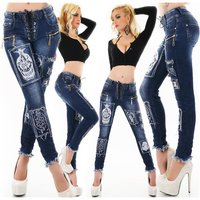 Womens skinny jeans with lace-up front dark blue