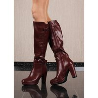 Womens boots made of faux leather with block heel wine-red