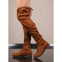 Flat womens overknee boots velour with lacing camel