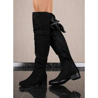 Flat womens overknees velour with lacing black