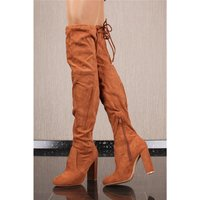 Sexy velour overknees womens boots with lacing camel