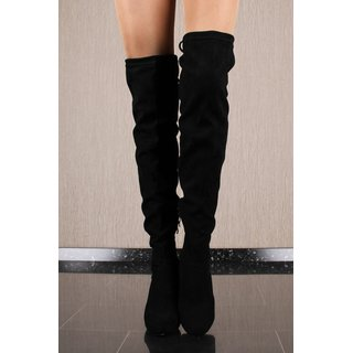 Sexy velour overknees womens boots with lacing black