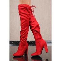 Sexy womens velour overknee boots with lacing red