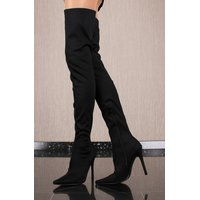 Thigh-high womens high heel overknee boots black