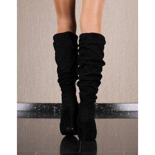 Sexy womens high heel boots made of velour black