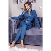 Slim-fit womens long sleeve jeans jumpsuit with belt blue