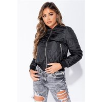 Womens diamond quilt bomber jacket blouson black