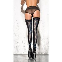Womens wet look stockings with mesh and lacing black